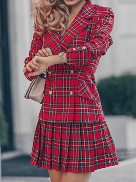 Button Fashion Plaid Pleated Double-Breasted Women's Two Piece Sets