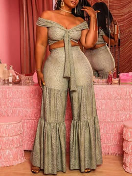 Casual Pants Patchwork Wide Legs Women's Two Piece Sets
