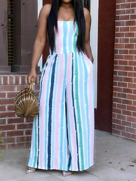 Fashion Full Length Stripe Mid Waist Slim Women's Jumpsuit