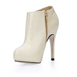 Fashion Patent Leather Upper Stiletto Heels Closed-toe Women's Boots