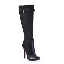 Charming Black PU Upper Stiletto Heel Pointed-Toe Knee High Women's Boots
