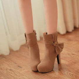 Suede Apricot Stilleto Heel Bowknot Closed Toe Platform Ankle Boots