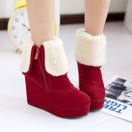 Dazzling Soft Lamb Wool Red Abrazine Suede Women's Boots