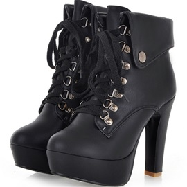 Eurameriacn Style Black PU Closed Toe Lace-up Chunky Heel Boots