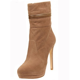 Nature Suede Closed Toe Zipper Stiletto Heel Ankle Boots