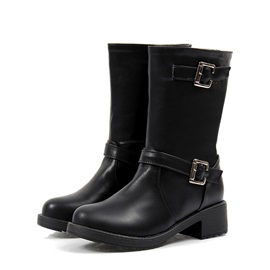 Sophisticated Black PU Closed Toe Buckle Low Heel Ankle Booties