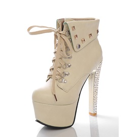 Multi-colour Lace-up Rivets Stiletto Heel Ankle Boots