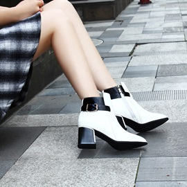Multi-colour Patent Leather Low Heel Boot