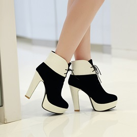 Contrast Color Patchwork PU Lace-Up Mid Heel Boots