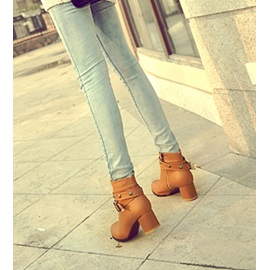 Pure Color PU Closed Toe Buckle Low Heel Ankle Boots
