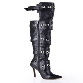 Black Oxhide Strappy Buckle Pointy Toe Stiletto Heel Long Boots