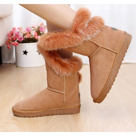 Camel Faux Furry Low Shaft Snow Boots