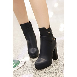 Solid Color Pu Rivets Chunky Heel Short Boots