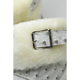 White Patchwork Metal Buckle Decorated Snow Boots