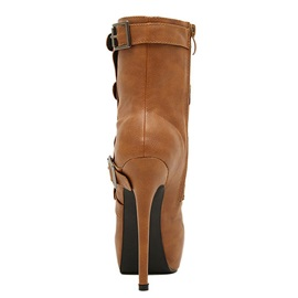 Buckles Stiletto Heel Zippered Ankle Boots