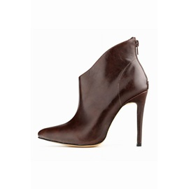 Solid Color Zipper Stiletto Heel Ankle  Boots
