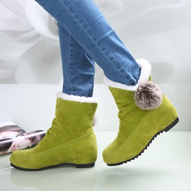 Faux Furry Ball Elevator Heel Ankle Boots
