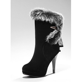 Black Fur Buckled Ankle Boots