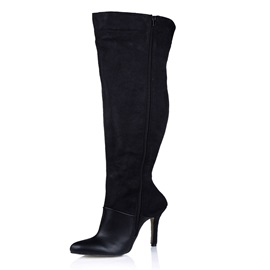 Black Patchwork Side Zipper Over Knee-High Boots