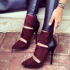 Patchwork Pointed Toe Heel Booties