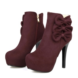 Suede Bowknot Deco Side Zip Boots