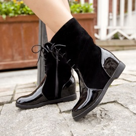 PU Patchwork Elevator Heel Lace-Up Booties