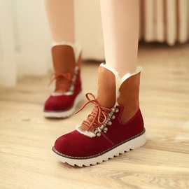 Color Block Suede Round Toe Lace-Up Booties