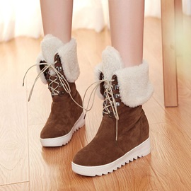Suede Fold Over Lace-Up Wedge Boots