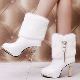Crystal Faux Fur Slip-On Booties