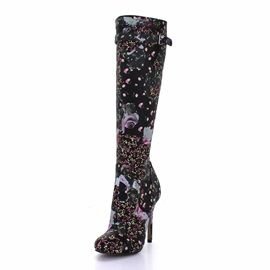 Floral Printed Side Zip Knee High Boots