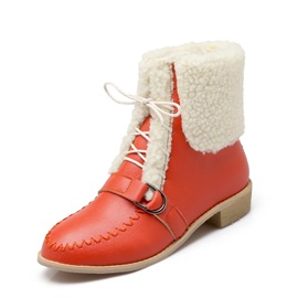Thread Lace-Up Front Booties