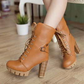 PU Wedge Sole Chunky Heel Lace-Up Booties