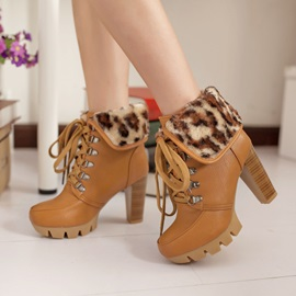 Leopard Printed Fold Over Lace-Up Booties