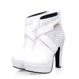 PU Back-Zip Stiletto Heel Booties