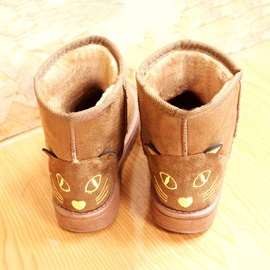 Cartoon Embroidered Slip-On Snow Boots