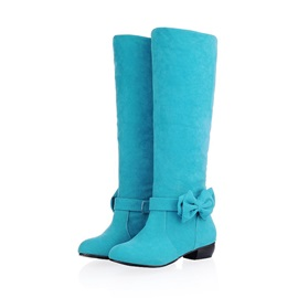 Bowknot Suede Square Heel Snow Boots