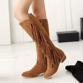 Tassels Zippered Knee High Boots