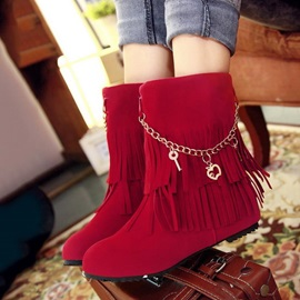 Chains&Tassels Suede Slip-On Booties