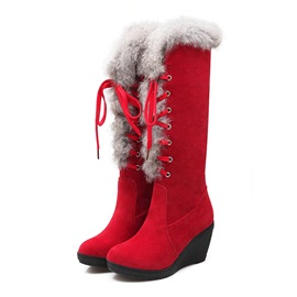 Faux Fur Suede Lace-Up Wedge Boots