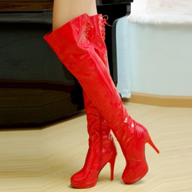 Solid Color PU Side-Zip Thigh High Boots