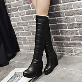 Solid Color Slip-On Knee High Wedge Boots