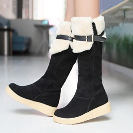 Suede Round Toe Knee High Snow Boots