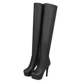 Solid Color PU Platform Thigh High Boots