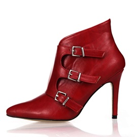 Buckles Pointed Toe Ankle Boots