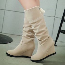 Solid Color Suede Wedge Boots