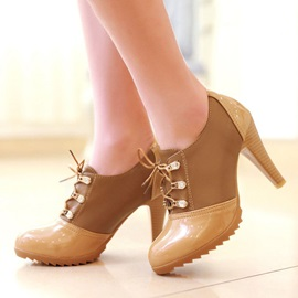 PU Patchwork Lace-Up Round Toe Ankle Boots