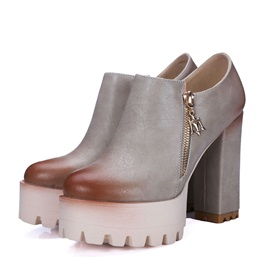 PU Oblique Zipper Chunky Heel Booties