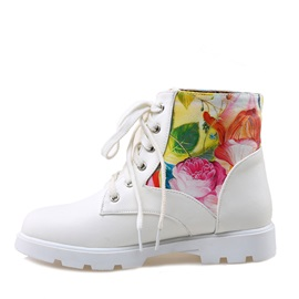 Floral Printed Round Toe Martin Boots