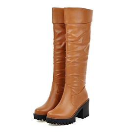 PU Lugz Sole Chunky Heel Riding Boots