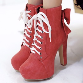 Chic Bowknots Lace-Up Platform Ankle Boots